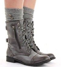 Military Style Brown Lace Up Ankle Boots