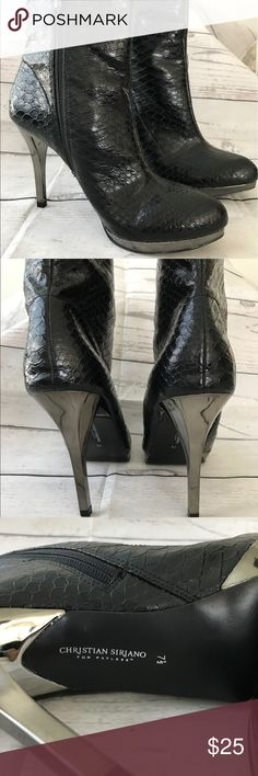 Cristian Siriano for Payless Size 7.5 Black Bootie Christian Siriano for Payless Black Snake Skin Booties Size 7.5. Only worn once Christian Siriano Shoes Ankle Boots & Booties