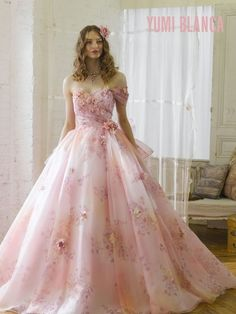 Yumi Blanca pink floral gown