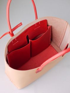 kumosha's hand stitched leather tote bag red and natural
