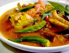 """3 hungry tummies: Assam Pedas, Hot And Sour Fish Stew With Eggplant & Okra """"Malaysian Monday Okra Recipes, Cod Recipes, Fish Recipes, Seafood Recipes, Asian Recipes, Cooking Recipes, Malaysian Cuisine, Malaysian Food, Malaysian Recipes"""