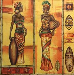 2 single paper napkins for decoupage handmade Indian african Woman beautiful Types Of Indian Paintings, African Art Paintings, Woman Painting, Figure Painting, Africa Painting, Afrique Art, Art Premier, Girl Artist, Retro Images