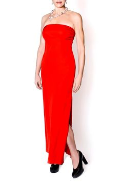 Floor length, strapless red dress with one side slit that reaches the knee. Fits the bodice snugly. Hidden back zipper closure. Dry clean only.   Floor Length Red Dress by bella Forte Boutique. Clothing - Dresses - Strapless Clothing - Dresses - Formal Utah