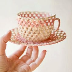 crocheted cup and saucer- this is absolutely too cute