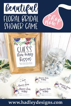 If you want a fun and memorable party game, floral baby shower guessing game jar cards are for you; navy blue, burgundy red guess how many candy in the jar cards are girl baby shower decorations for girl or baby gender reveal party supplies kit; blush pink flower watercolor greenery guess how many bridal shower games for guests, marsala garden baby shower games to play, woman guess how many kisses game, man gender reveal games for party, boy baby shower ideas, kids birthday party games for kids Gender Reveal Games, Gender Reveal Party Supplies, Baby Gender Reveal Party, Floral Baby Shower, Baby Boy Shower, Baby Sprinkle Games, Baby Shower Guessing Game, Baby Shower Decorations Neutral, Birthday Party Games For Kids