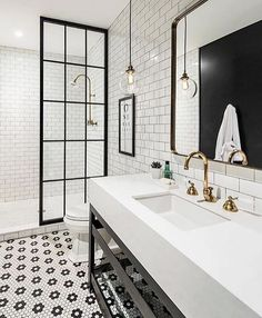 Jorie Martin saved to home Awesome Black And White Subway Tiles Bathroom Design Creative Industrial Bathroom Renovation Ideas To Nail Your Home White Bathroom Designs, Black White Bathrooms, Home, Modern Farmhouse Bathroom, Bathroom Tile Designs, Bathroom Decor, Farmhouse Bathroom Decor, House Bathroom, Bathrooms Remodel