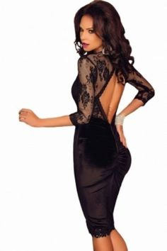Fete-soiree-robe-dentelle-robe-de-cocktail-manches-longues-M-38-Clubwear-velours-stretch