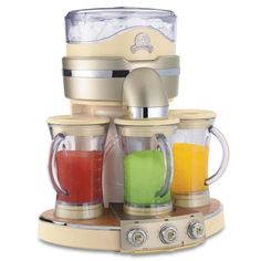 JIMMY's - Margaritaville Tahiti Frozen Concoction Maker: three times the flavor, three times the fun! Frozen Concoction Maker utilizes three blending jars to create your guests' favorite frozen drinks. Kitchenaid Artisan Mixer, Tahiti, Small Kitchen Appliances, Kitchen Gadgets, Cool Kitchens, Kitchen Items, Baking Gadgets, Kitchen Supplies, Kitchen Tools