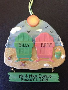 Personalized Beach Chair Wedding Ornament Wedding by YourNAMEnts