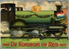 De Koningin op reis / The Queen is travelling. Prentenboek aan de Nederlandsche Jeugd uitgegeven ter gelegenheid van het 25 jarig Regeerings Jubileum van H.M. Wilhelmina Helena Paulina Maria Koningin der Nederlanden September 1923.