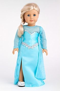 Snow Queen - Long turquoise dress with sparkling cape and silver shoes - 18 Inch American Girl Doll Clothes  Price : $64.97 http://www.dreamworldcollections.com/Snow-Queen-turquoise-sparkling-American/dp/B00KXJX9ME