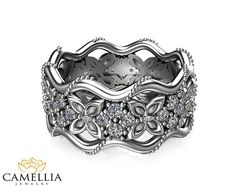 14K White Gold Diamond Ring Butterfly by CamelliaJewelry on Etsy