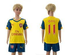 Arsenal Away Kids #11 Ozil 11-14-15 Season Soccer Jerseys Yellow