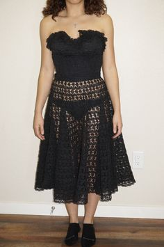 Vintage Mexican Black Handmade Lace 2 Pc Bustier Dress
