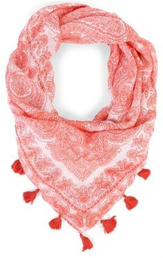 Deb Shops Woven Paisley Print Scarf with Tassels $6.00