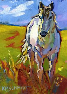 Kmschmidt ACEO Ed Print Free Wild White Horse Equine Art | eBay