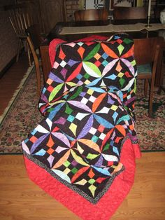 Bright Happy Batik and Black Quilt with by DelauneQuiltDesigns