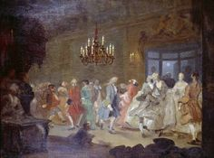 """William Hogarth, 'The Dance (The Happy Marriage ?VI: The Country Dance)' """"This is a sketch for a painting in a series about a happy marriage, which Hogarth never completed. It shows a dance in the hall of an old-fashioned Jacobean country mansion. William Hogarth, Dance Art, Dance Music, Georg Trakl, Country Dance, Elegant Couple, Happy Marriage, Art Uk, 18th Century"""