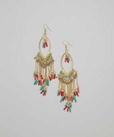 Take a look at this Blue & Pink Gold Seed Bead Drop Earrings on zulily today!