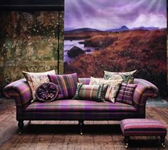 Stable To Manor - Tartan & Tweed Decor, Soft Furnishings, Plaid, Scottish Interiors, French Country Living Room, Pillows, Scottish Decor, Tartan Decor, Furnishings