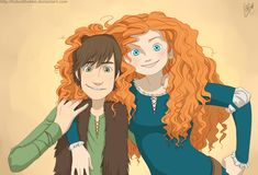 Hiccup (How to Train Your Dragon) and Merida (Brave), great pairing! But a bit odd