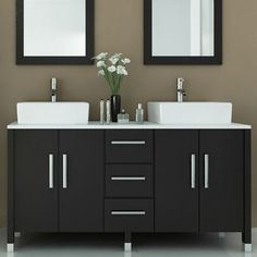 Black Painted Wooden Double Vanity Mixed White Porcelain Vessel Sink And Twin Wall Mirror, Modern Bathroom Vanities With Vessel Sinks Design Ideas: Bathroom, Furniture Black Vanity Bathroom, Small Bathroom Vanities, Vessel Sink Bathroom, White Bathroom, Modern Bathroom, Bathroom Ideas, Charcoal Bathroom, Bathroom Mirrors, Bathroom Designs