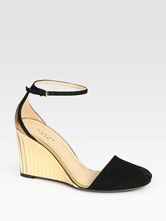 Gucci  Delphine Suede and Metallic Leather Wedge Sandals | http://www.saksfifthavenue.com/main/ProductDetail.jsp?FOLDER%3C%3Efolder_id=2534374306545067&PRODUCT%3C%3Eprd_id=845524446472101&R=885133594172&P_name=Gucci&N=306545067&bmUID=joS2kJb