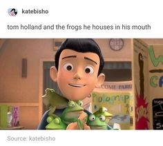 Tom Holland and his frogs