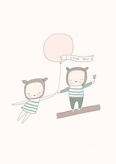 """Vivaio arte - Little Bear ragazza e ragazzo con palloncino rosa - ti amo - rosa pallido 8 x 10 """"o A4 di honeycup su Etsy https://www.etsy.com/it/listing/162125038/vivaio-arte-little-bear-ragazza-e"""