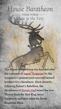 House Baratheon (Game of Thrones) Levi and I agreed, this is our favorite House. (Except Tagaryen of coarse) Ned Stark, Eddard Stark, Got Game Of Thrones, Game Of Thrones Houses, Valar Morghulis, Winter Is Here, Winter Is Coming, Sons Of Anarchy, Game Of Trone