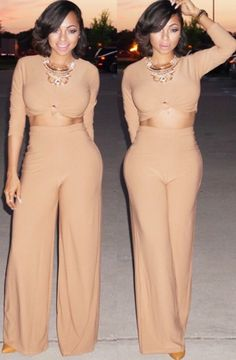 "Because we all just love Kim Kardashian's style right? And this is SOOOO KIM and we love it! Our ""KK Set"" is a two piece tan set featuring a long sleeve crop top with a center knot tie and high waist"