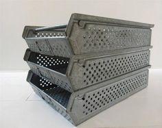 VINTAGE INDUSTRIAL METAL FACTORY TRAYS STEEL FILING STORAGE BOX CRATE TRUG in Antiques, Home, Furniture & DIY | eBay