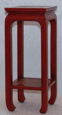 Asian Decor: Red Lacquered Tall Plant Stand from China