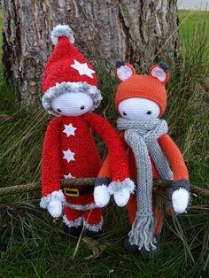FIBI the fox & Santa Mod made by Astrid T. / crochet pattern by lalylala