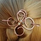 Copper Hair Clip, Hair Stick, Peacock Agate Hair Slide, Hair Pin