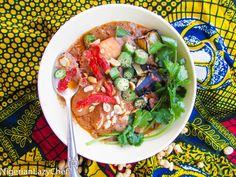 African Peanut Stew With EggPlant and Okra(Vegetarian Senegalese Maafe)
