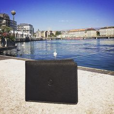 Meanwhile, in Getting refreshed by the lake. Slim Leather Wallet, Slim Wallet, Geneva Switzerland, Italian Leather, Handmade, Hand Made, Handarbeit