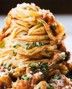 Eggplant and ham ragu makes this one of our favorite pasta recipes.