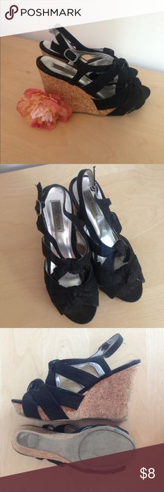 Steve Madden Wedges Black canvas with knots. In pre-loved condition but still have a lot of life. A little worn at the back/bottom of each wedge. Feel free to ask questions or make an offer! Steve Madden Shoes Wedges