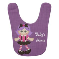 Beautiful Retro Rag Doll Custom Baby Bib