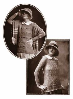 Free 1920s patterns: Women's knit sweaters (Edgemore (top),  Pembroke (bottom) sweaters)