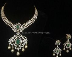 Diamond Necklace Diamond Emerald Necklace from Bhavani - Latest Collection of best Indian Jewellery Designs. Real Diamond Necklace, Emerald Necklace, Diamond Pendant Necklace, Diamond Jewelry, Emerald Diamond, Stone Necklace, Sapphire, Gold Necklace, Mom Jewelry