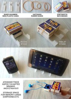 Create phone and tablet stands with saxophone reed cases, matchboxes and rubber bands.
