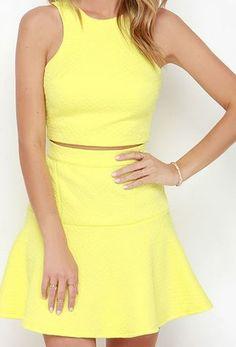 Grow to Glow Yellow Two-Piece Dress