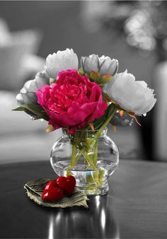 Color Splash flowers with red hearts