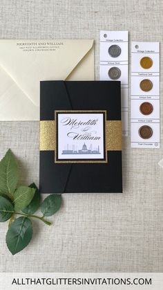 Washington DC Skyline Wedding Invitation in Black and Gold Fancy Wedding Invitations, Black And White Wedding Invitations, Pocketfold Invitations, Glitter Invitations, Unique Wedding Invitations, Elegant Invitations, Wedding Stationery, Dallas Wedding, Chicago Wedding