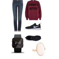 A fashion look from February 2015 featuring River Island sweatshirts, Frame Denim jeans and NIKE sneakers. Browse and shop related looks.