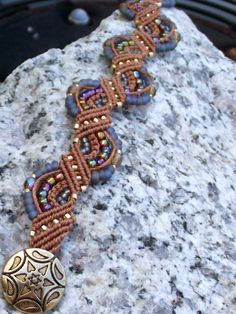 Rust Micro Macrame Bracelet with PurpleBrown and by Earsmiths,