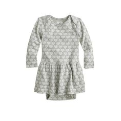 Baby long-sleeve skirted one-piece in heart stack