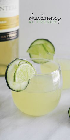 Refreshing Chardonnay Al Fresco is the perfect party drink—fresh and light, this cocktail is crafted with fresh lime and cucumber.
